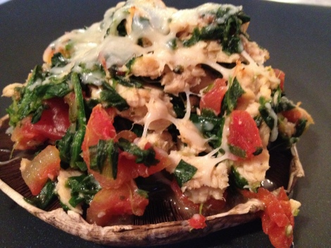 Salmon and Spinach Stuffed Portabella Mushrooms